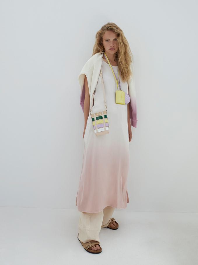 Strap Round Neck Dress, Pink, hi-res