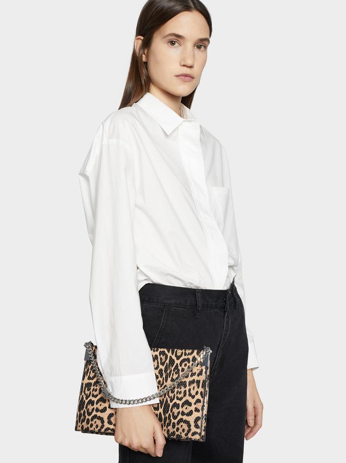 Animal Print Handbag, Beige, hi-res