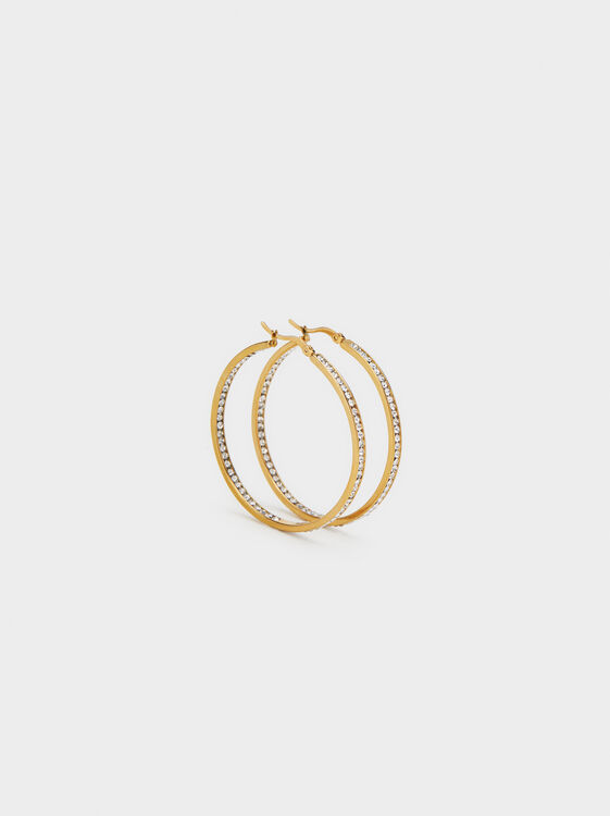 Steel Hoop Earrings With Rhinestones, Golden, hi-res