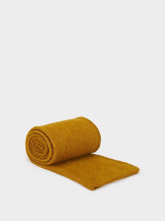 Plain Maxi Scarf, Yellow, hi-res