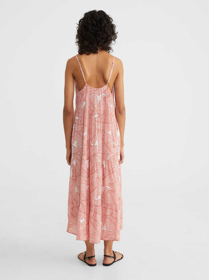 Printed Dress With Straps, Pink, hi-res