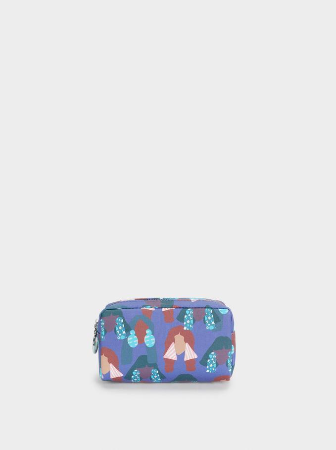 Printed Pencil Case, Purple, hi-res