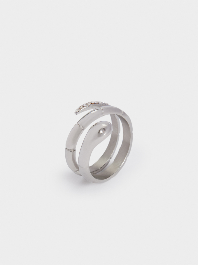 Stainless Steel Snake Ring, Silver, hi-res