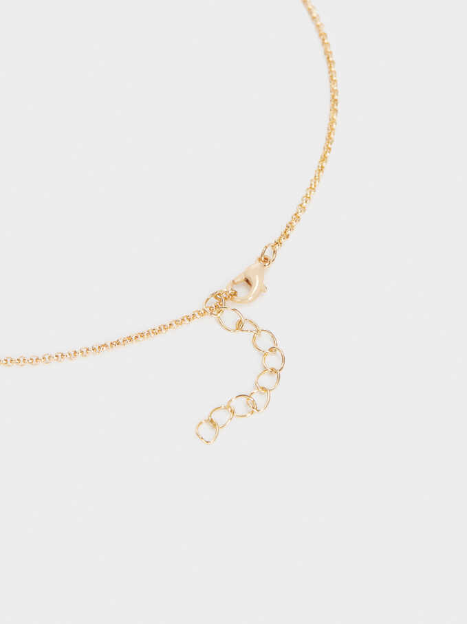 Short Golden Necklace With Crystals, Golden, hi-res