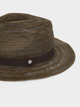Raffia Hat With Matching Ribbon, Green, hi-res