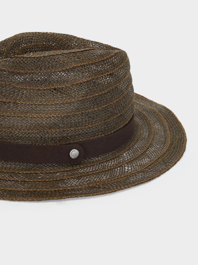 Raffia Hat With Matching Ribbon, Green, hi-res