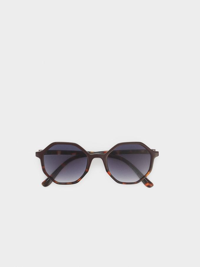 Gafas De Sol Con Montura Redonda, Marrón, hi-res