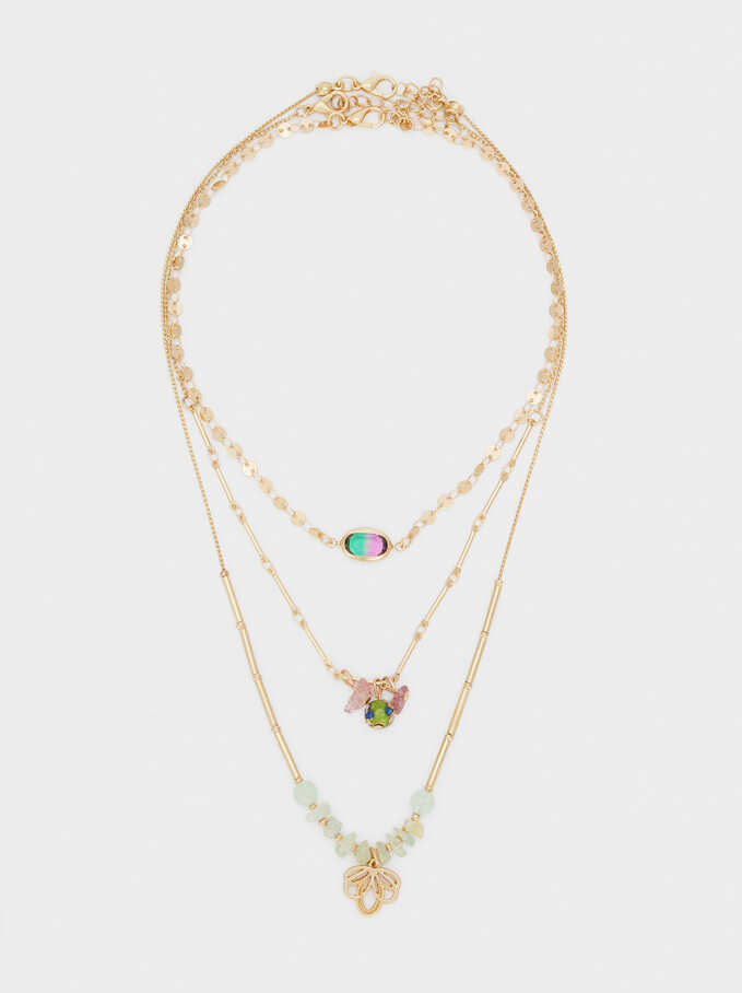 Set Of Necklaces With Charms And Stones, Multicolor, hi-res