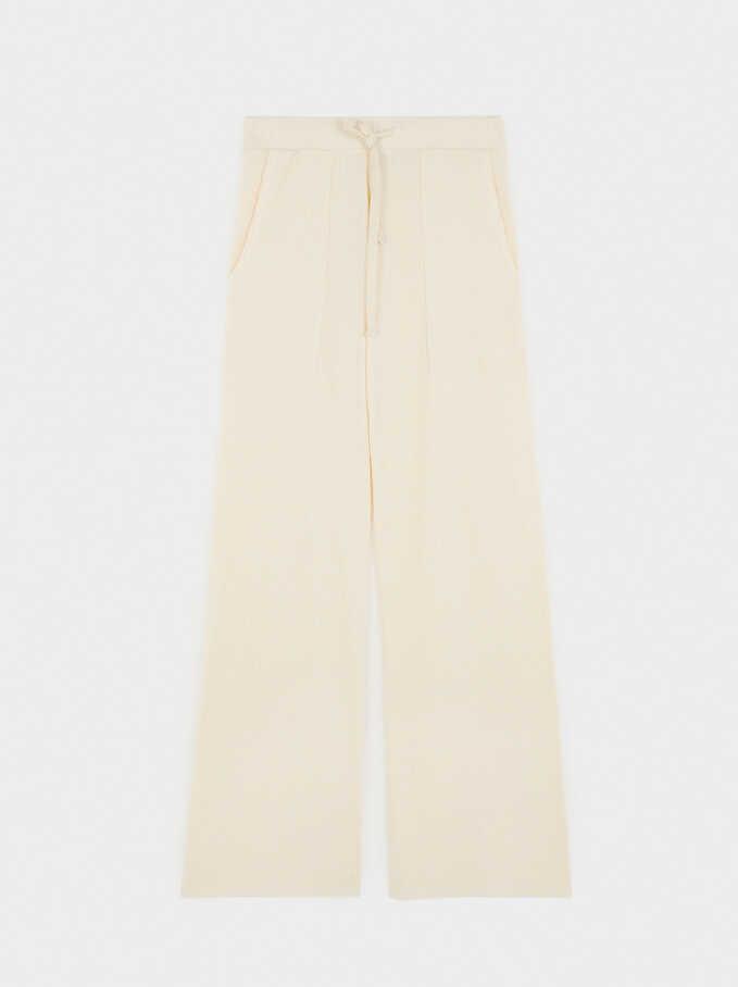 Knit Wide-Leg Trousers, Ecru, hi-res