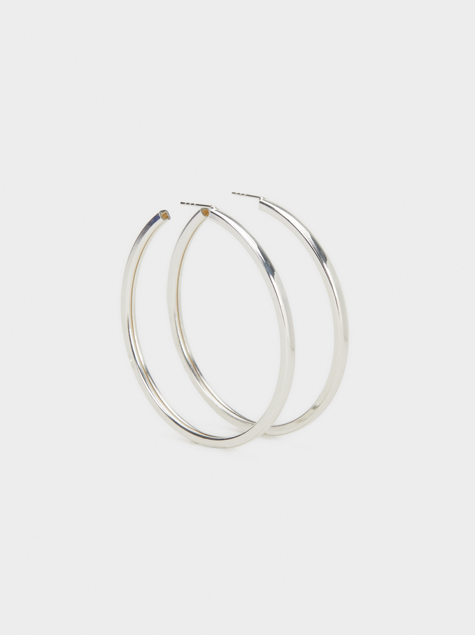 Basic Large Hoop Earrings, Silver, hi-res