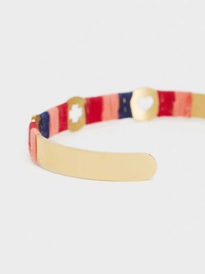 Rigid Bracelet With Thread Detail, Multicolor, hi-res