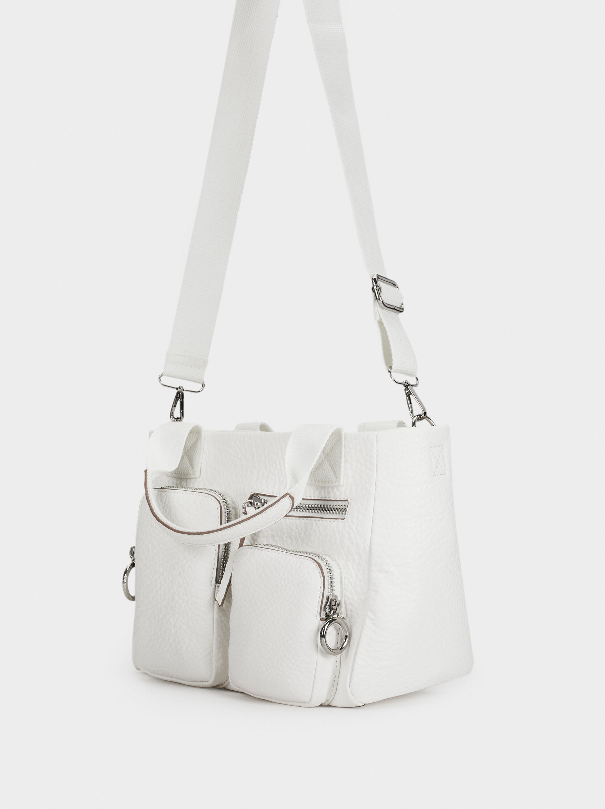 Tote Bag With Pockets, White, hi-res