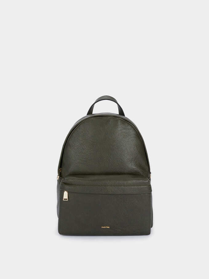 Backpack With Chain Detail Outside Pocket, Khaki, hi-res
