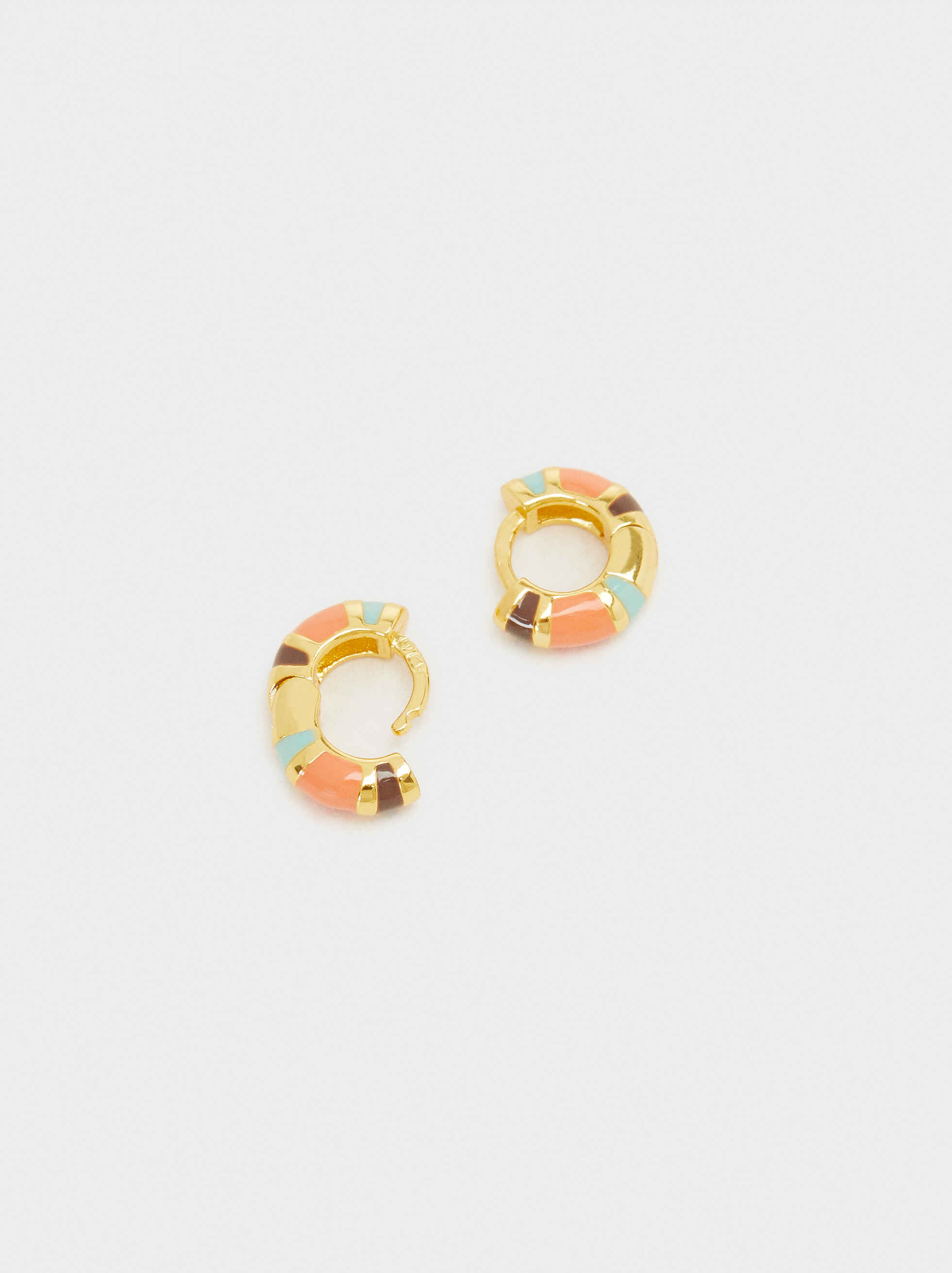 925 Silver Small Colourful Hoop Earrings, Multicolor, hi-res