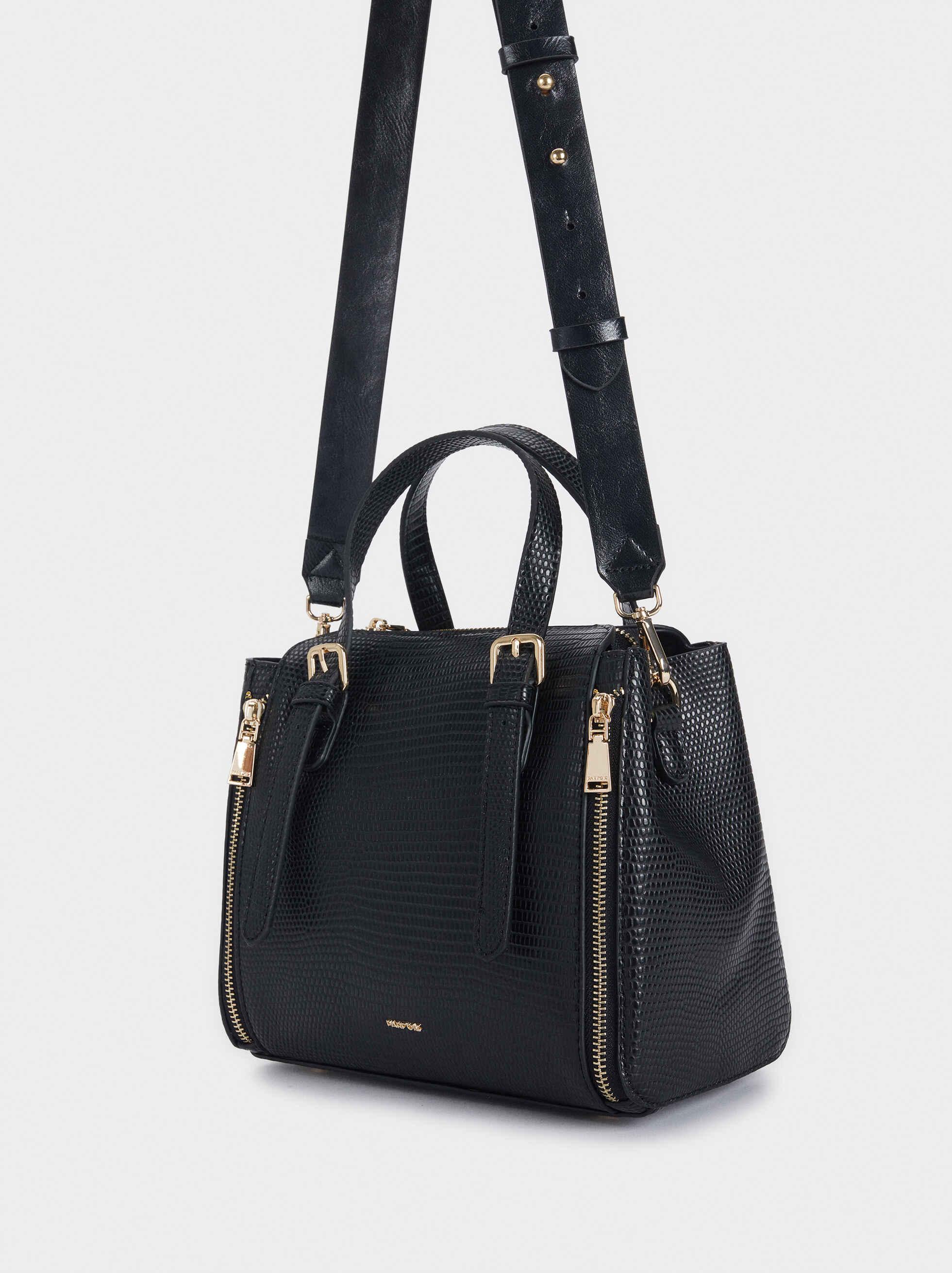 Animal Print Tote Bag With Zip Detailing, Black, hi-res