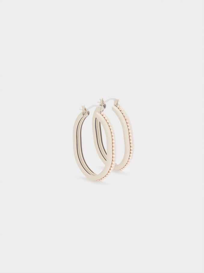 Enamel Hoop Earrings, Orange, hi-res