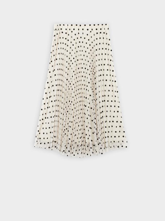 Pleated Polka Dot Print Skirt, Ecru, hi-res