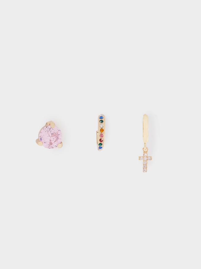 Gold Earring Set, Golden, hi-res