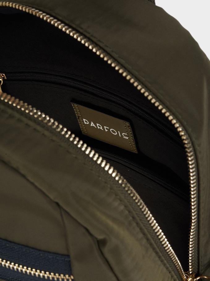 Nylon Backpack With Exterior Pockets, Khaki, hi-res