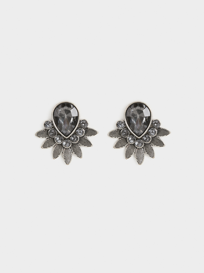 Stone Earrings, Silver, hi-res