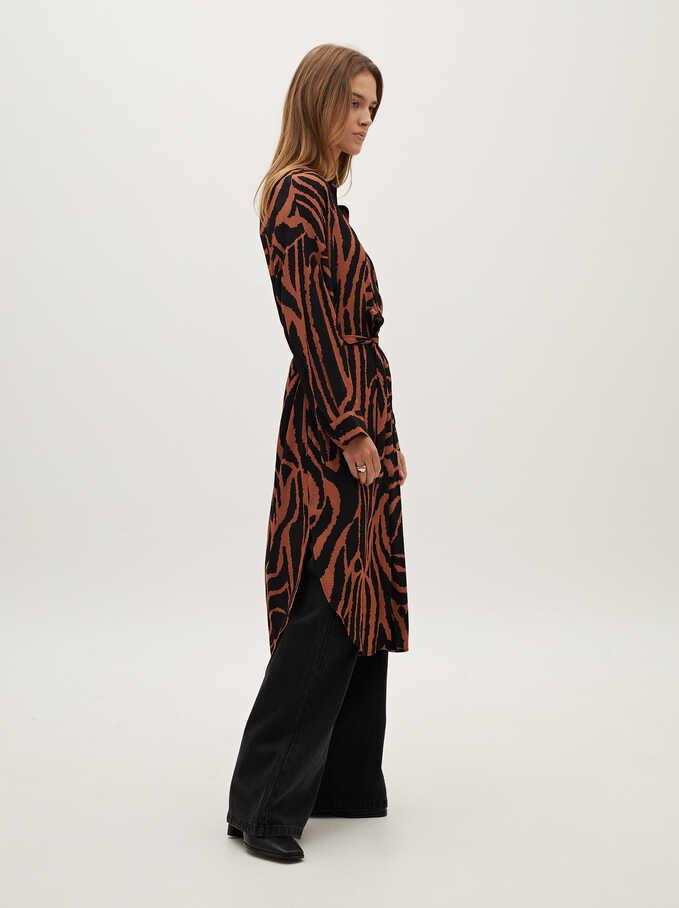 Animal Print Shirt Dress, Brown, hi-res