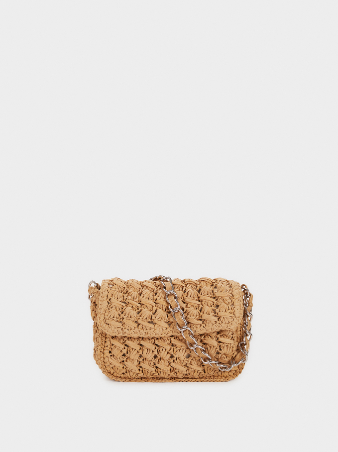 Braided Raffia Crossbody Bag, Beige, hi-res