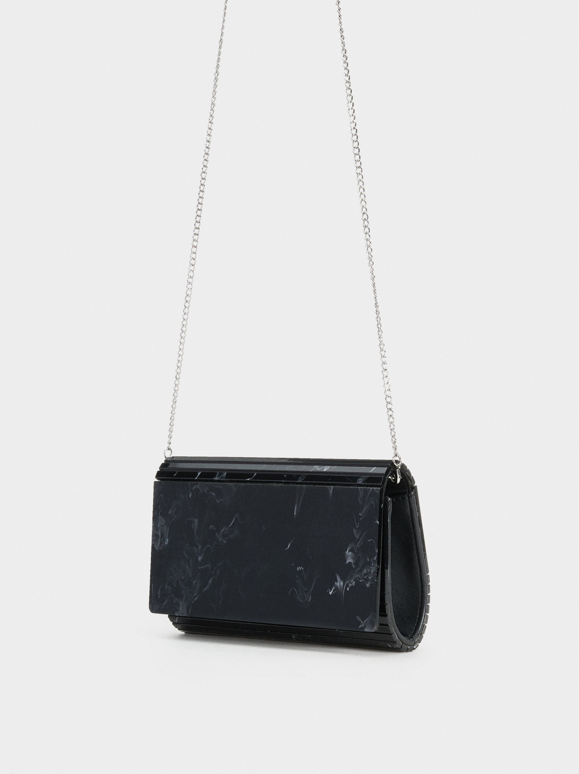 Clutch With Beaded Strap, Black, hi-res