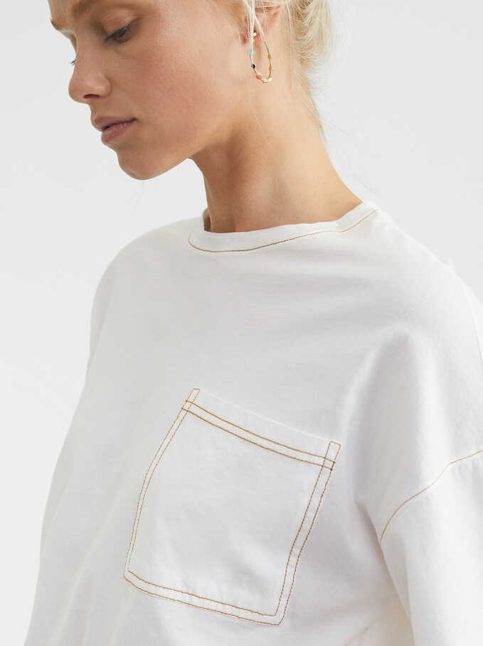 Oversized T-Shirt With Pocket, White, hi-res