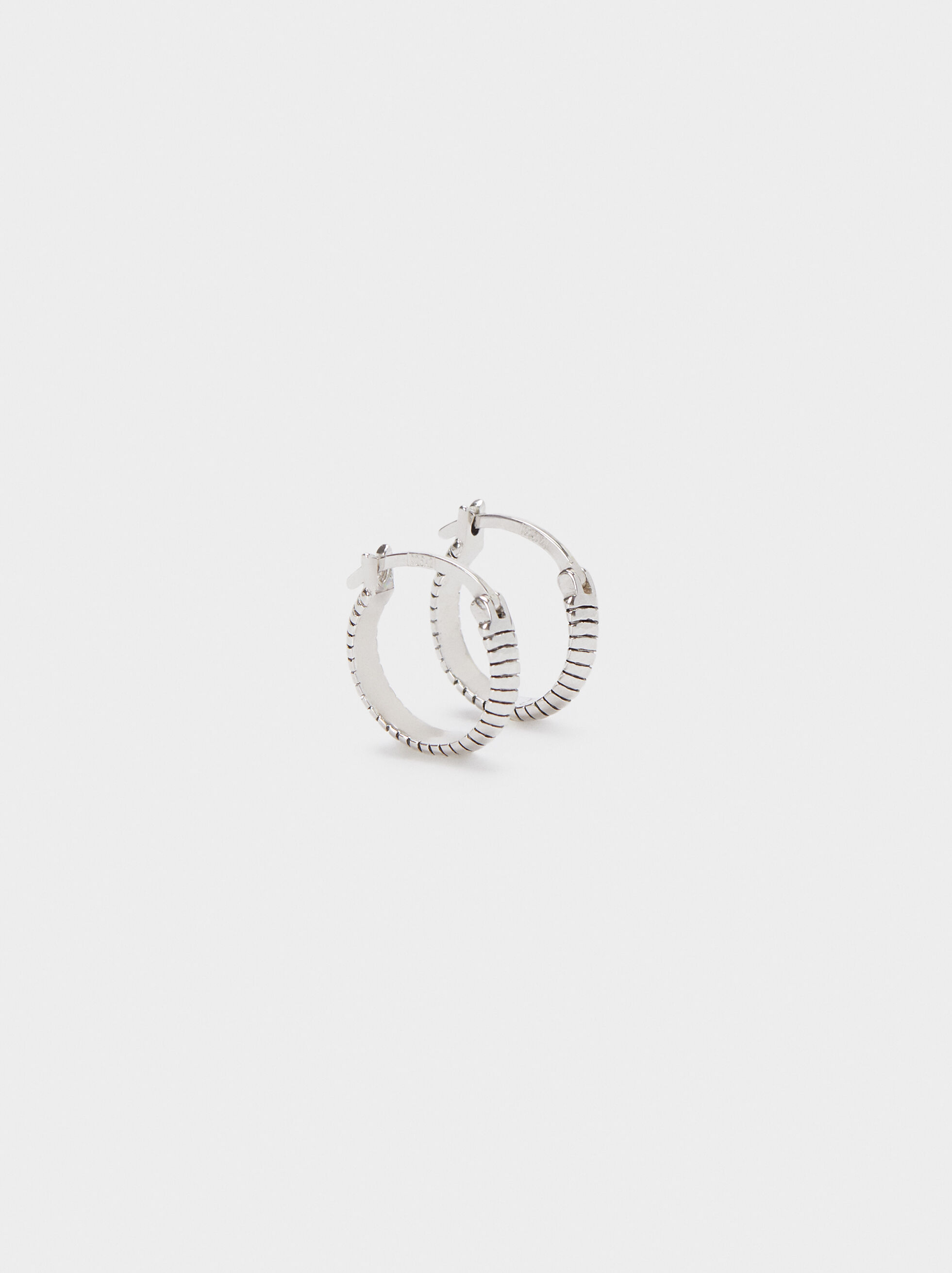925 Silver Small Hoop Earrings, Silver, hi-res