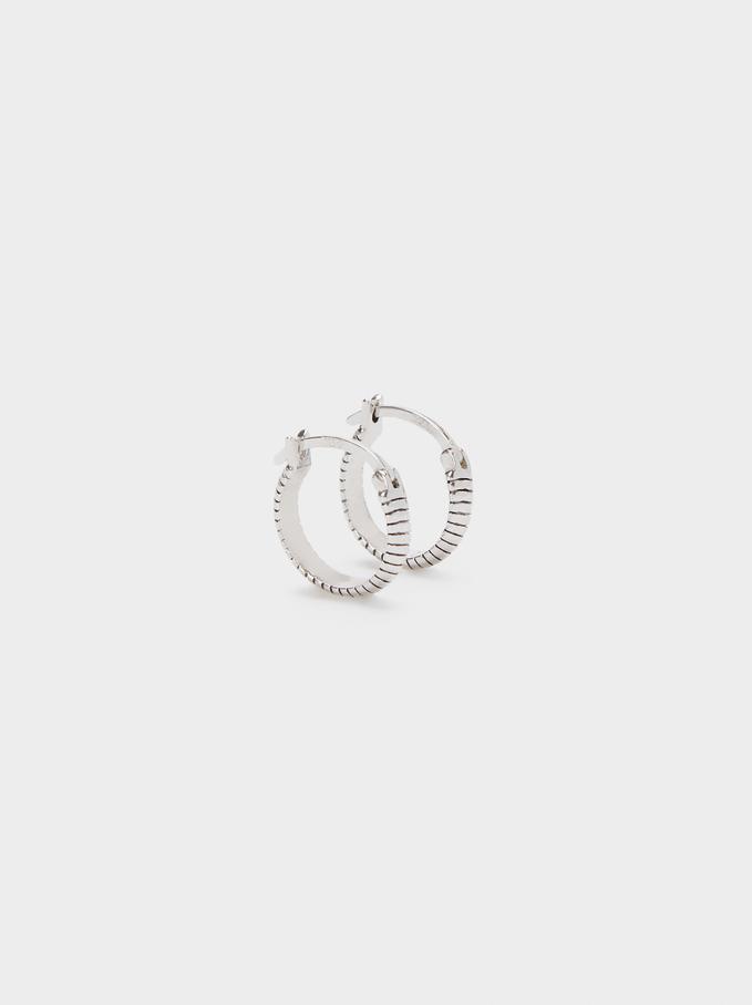 925 Silver Small Hoop Earrings, Silver, hi-res