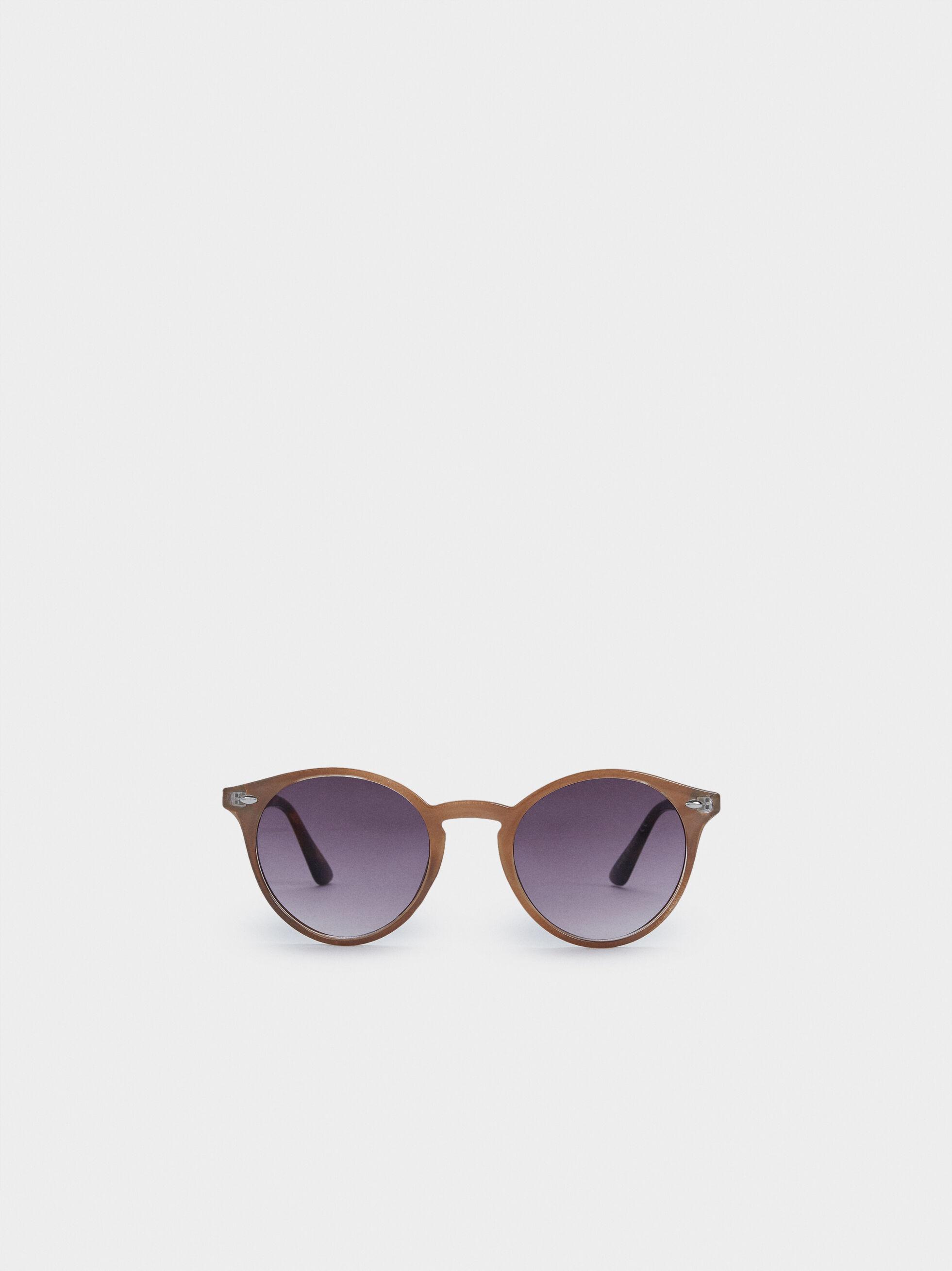 Gafas De Sol De Pasta Montura Redonda, Marrón, hi-res