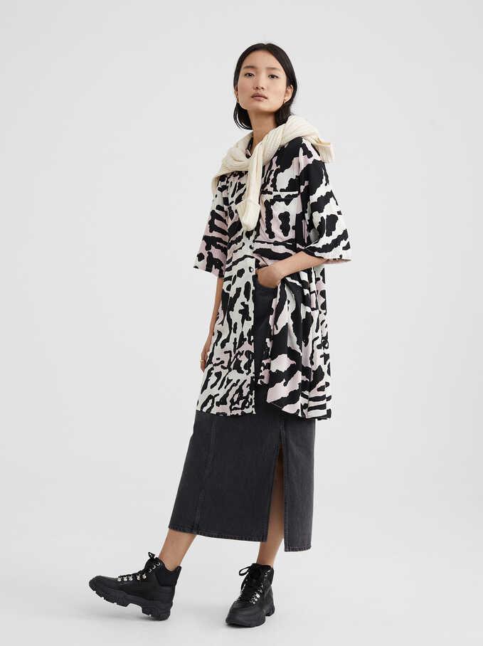 Animal Print Shirt Dress, Pink, hi-res