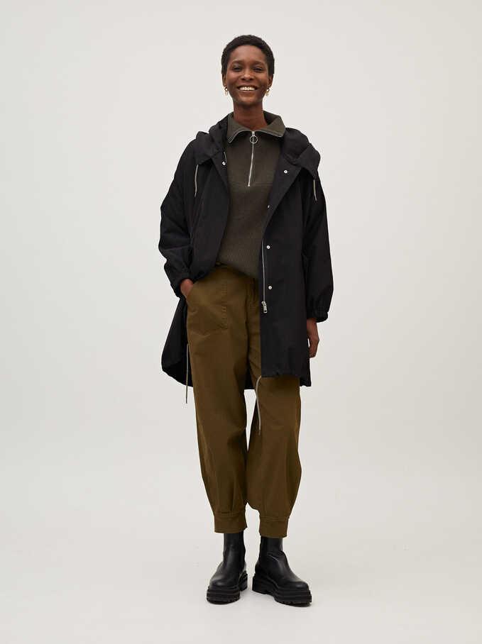 Light Jacket With Hood, Black, hi-res