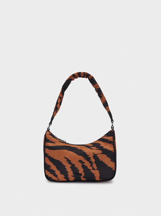 Animal Print Nylon Crossbody Bag, Orange, hi-res