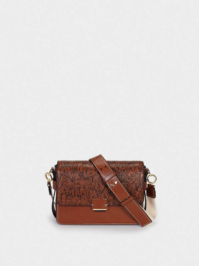 Embossed Crossbody Bag With Contrast Strap, Camel, hi-res