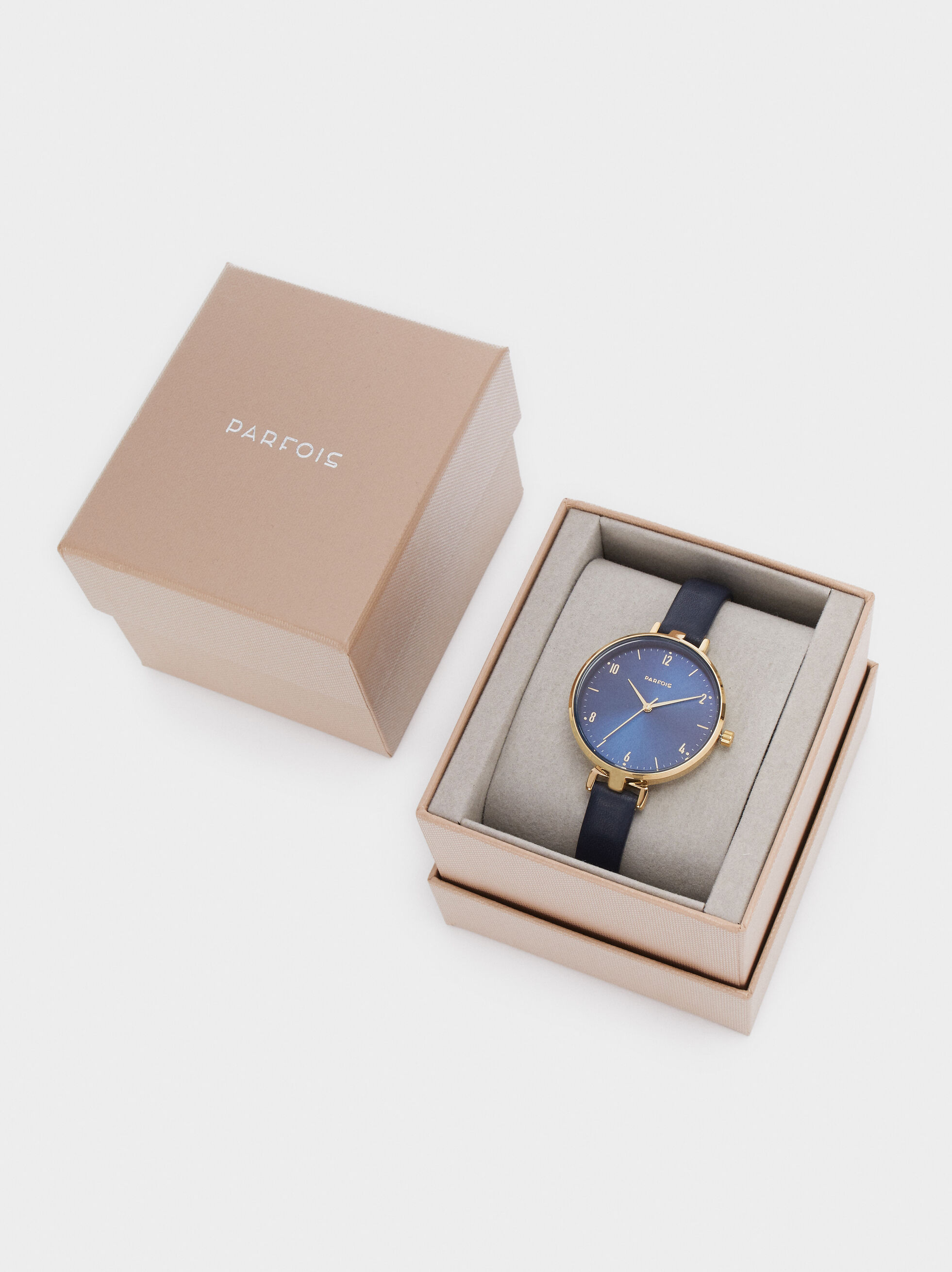 Round Watch With Matching Thin Strap, Blue, hi-res