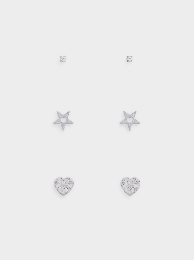 Set Of Star And Heart Earrings, Silver, hi-res
