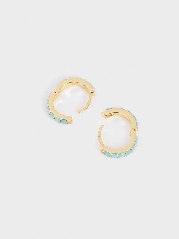 925 Sterling Silver Small Hoop Earrings, Blue, hi-res
