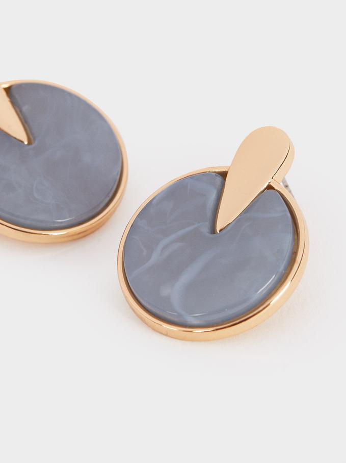 Medium Gold Resin Earrings , Pink, hi-res