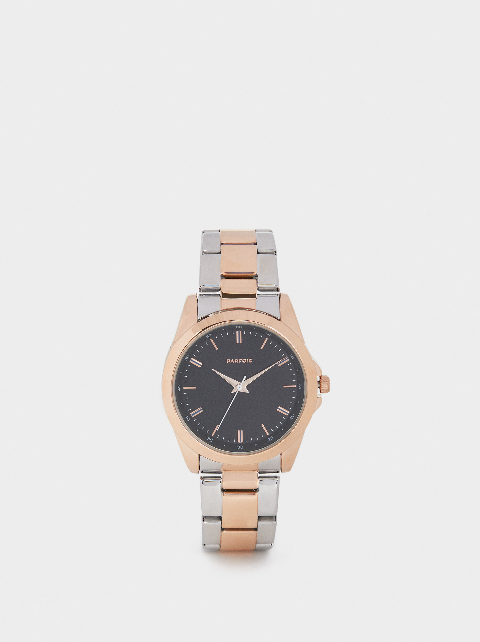 Watch With Two-Toned Metal Strap, Orange, hi-res