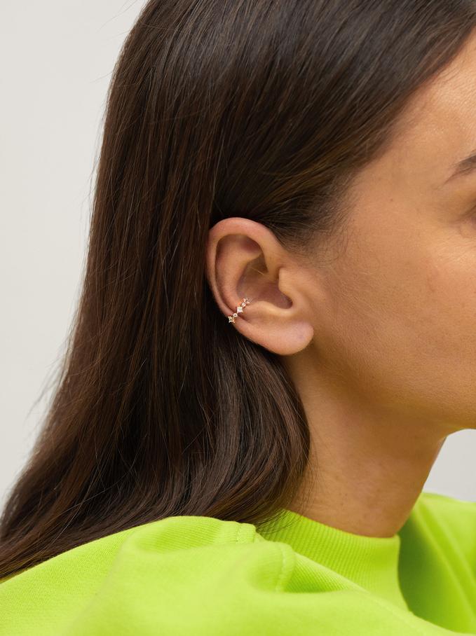 Earcuff Earrings With Zirconia, Golden, hi-res