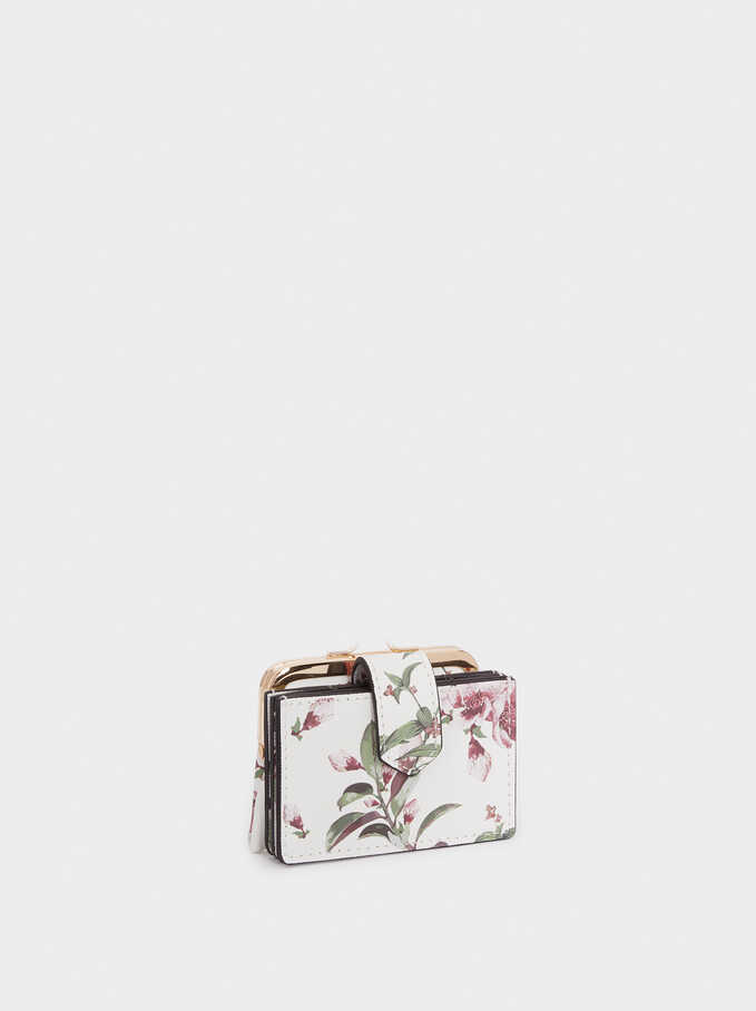 Floral Print Purse With Card Holder , Ecru, hi-res