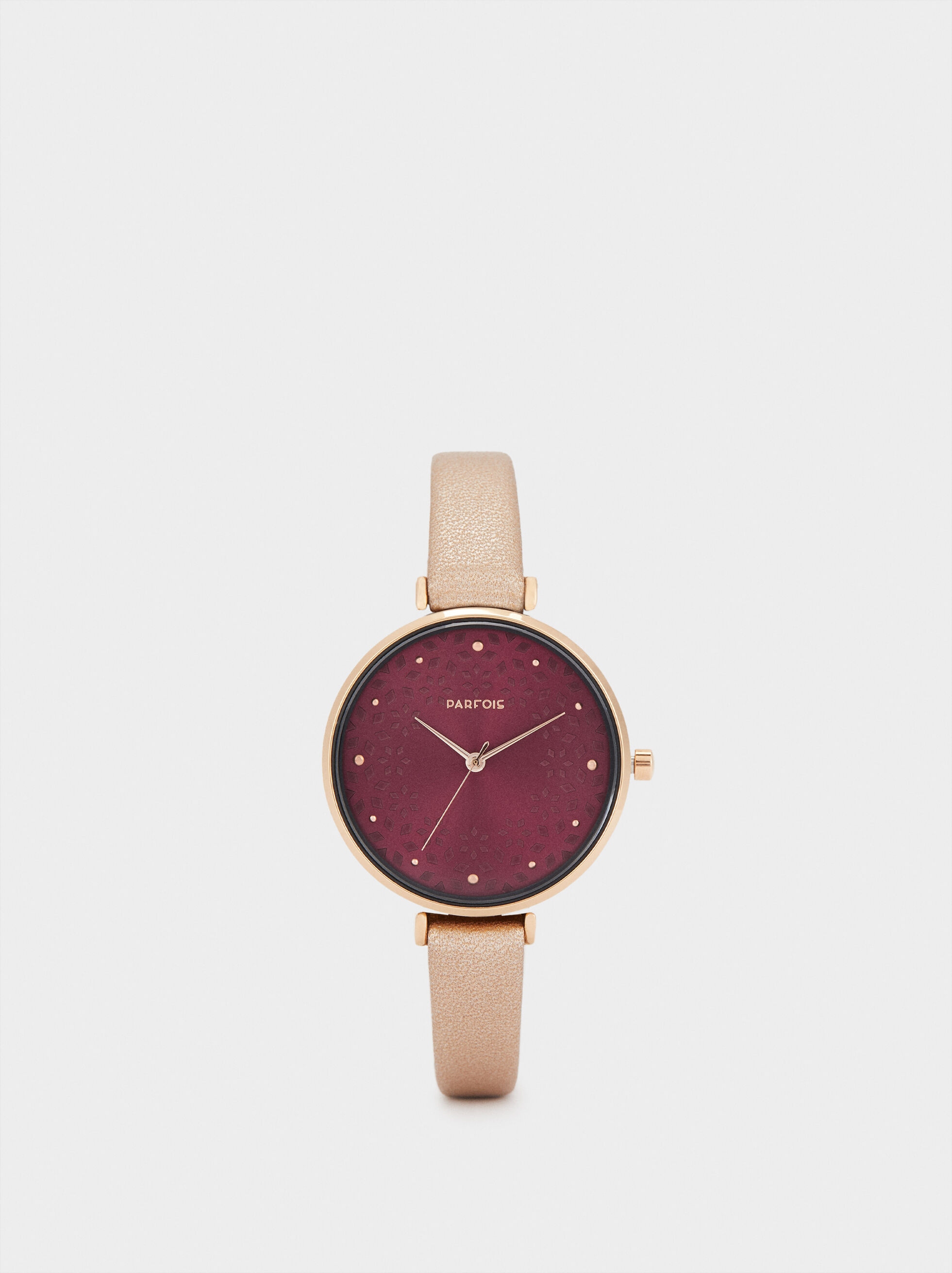 Watch With Thin Strap And Contrasting Face, Orange, hi-res