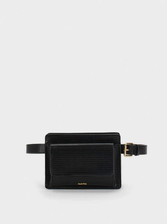 Animal Embossed Crossbody Belt Bag, Black, hi-res