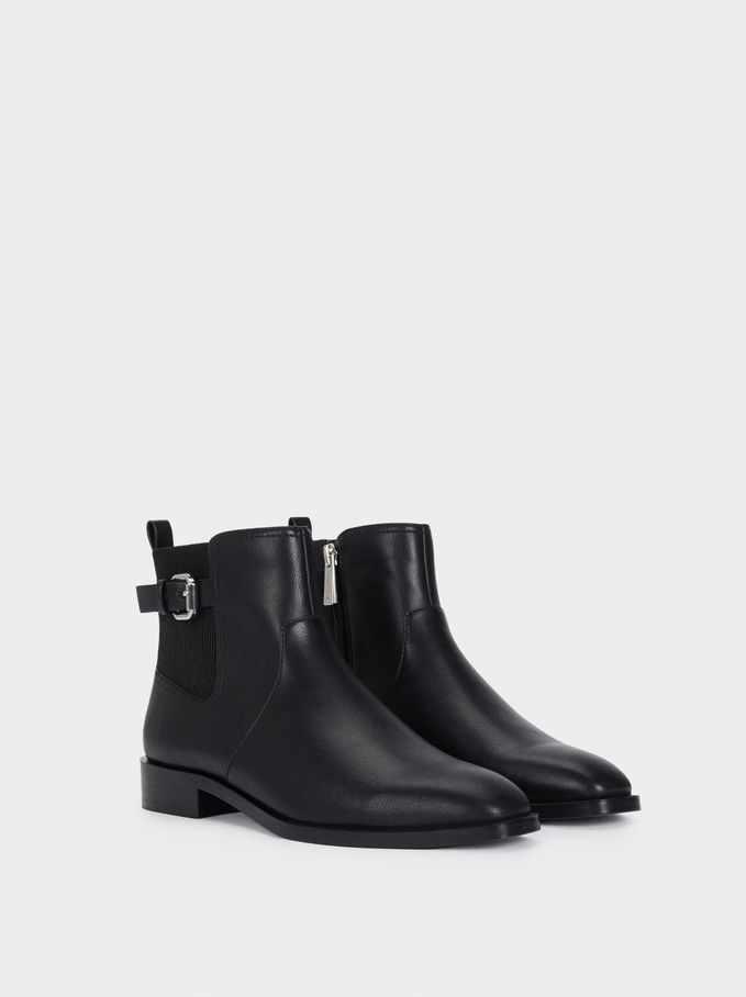 Flat Ankle Boots With Buckle Detail, Black, hi-res