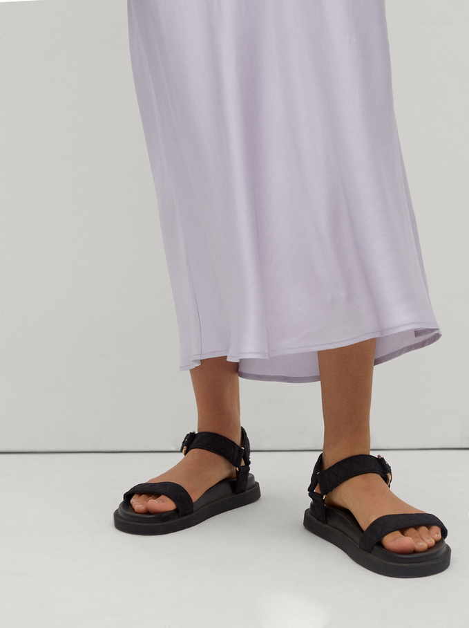 Long Skirt With Elastic Waistband, Violet, hi-res