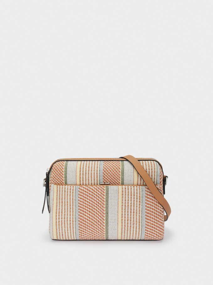 Printed Fabric Crossbody Bag, Pink, hi-res