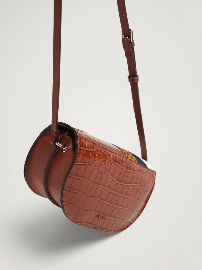 Patchwork Crossbody Bag With Animal Print, Camel, hi-res