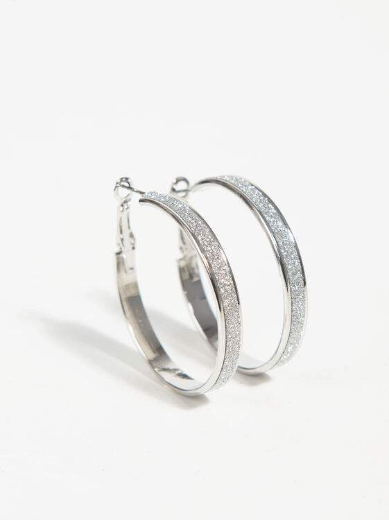 Medium Rhinestone Hoop Earrings, Silver, hi-res