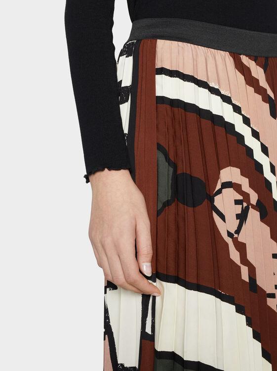 Printed Pleated Skirt, Brown, hi-res